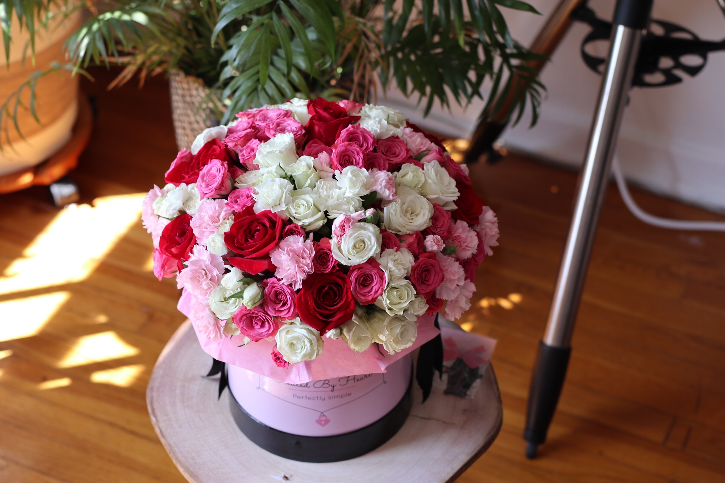 Mixed colors spray roses in a medium or large signature box
