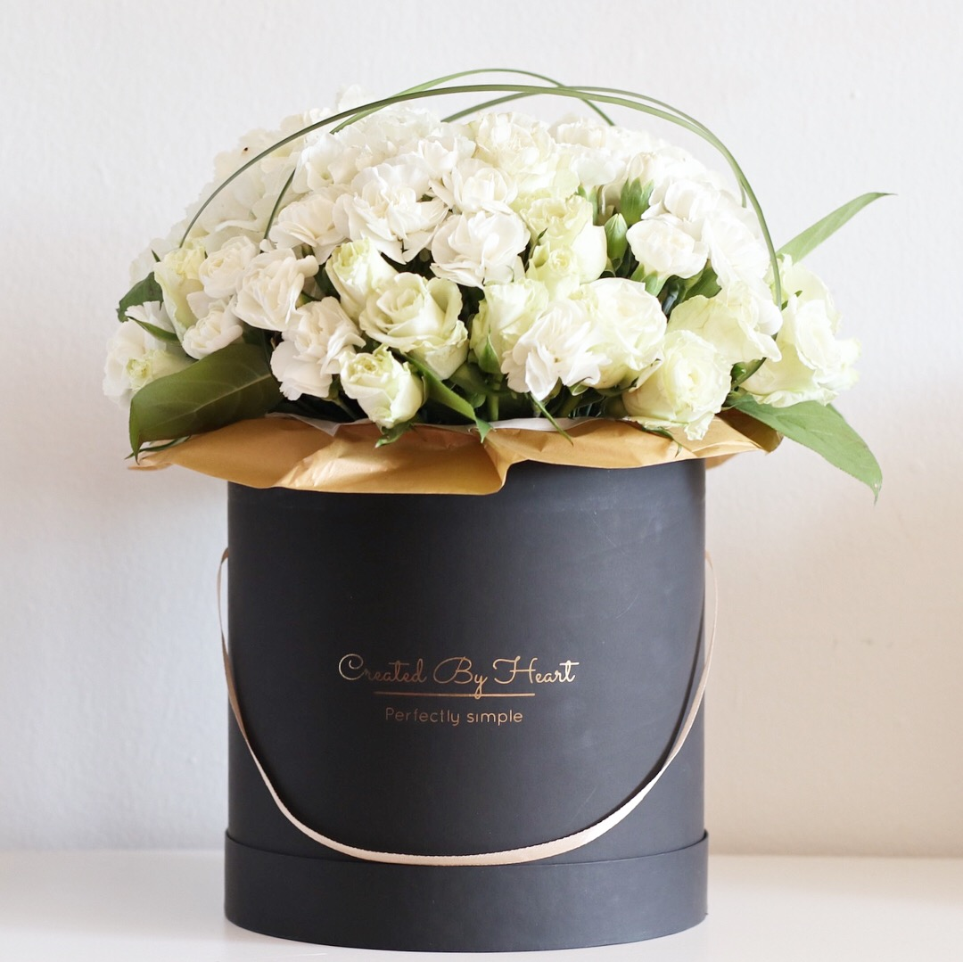 Mix of white flowers in a blackgold signature box created by heart mix of white flowers mightylinksfo