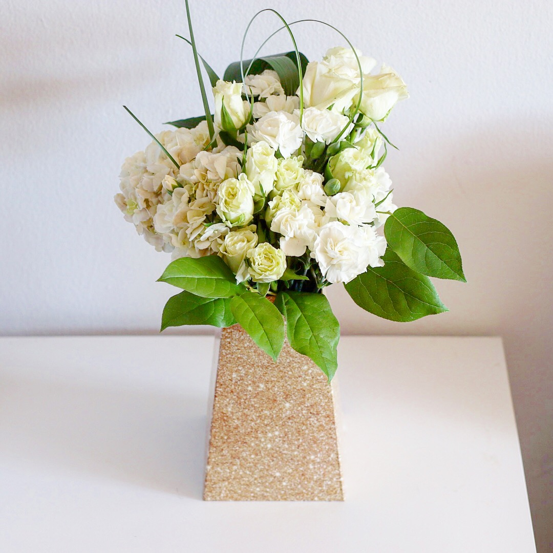 White Flowers In A Gold To Go Vase Created By Heart